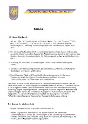 SC Cismar Satzung 2013